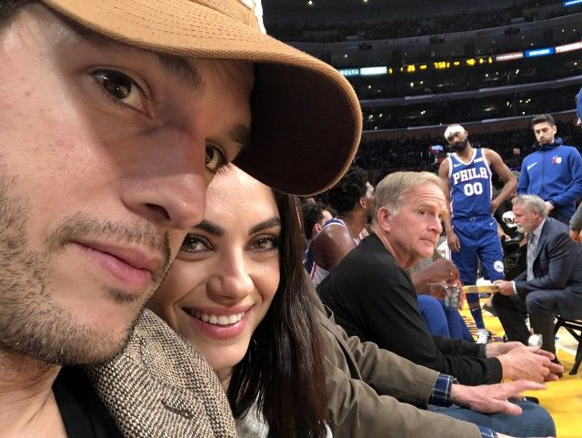 Ashton Kutcher Mila Lakers Game Text
