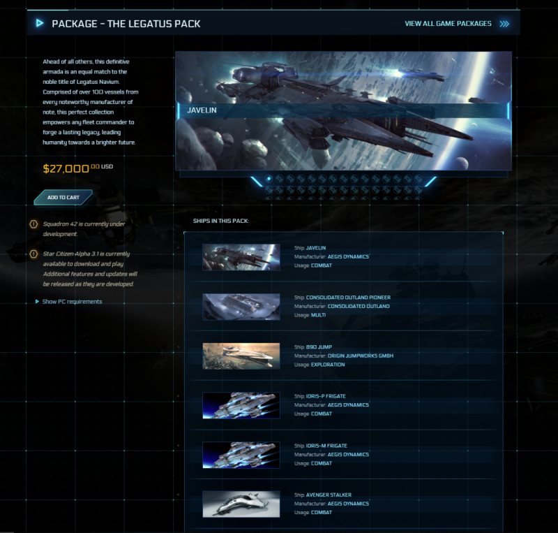Star Citizen's latest hilariously priced Legatus Pack costs $27,000