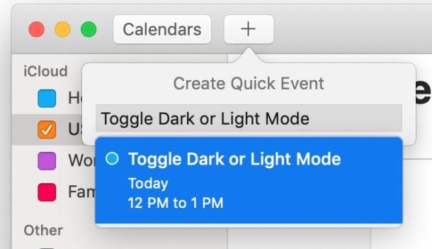 Make a new Calendar event
