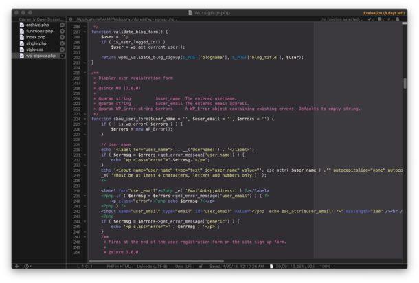 dark color scheme in bbedit with dark mode on Mac
