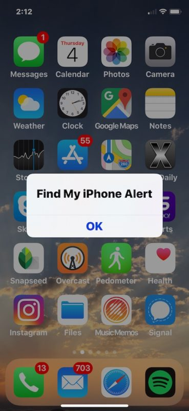 Find My iPhone alert on iPhone triggered by Siri