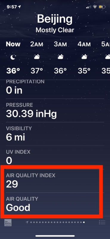 Get Air Quality information in Weather app on iPhone