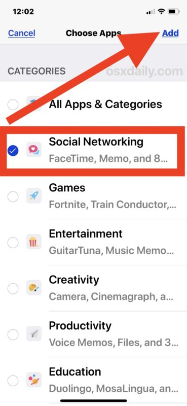 Choose Social Networking to set time limit for in iOS Screen Time