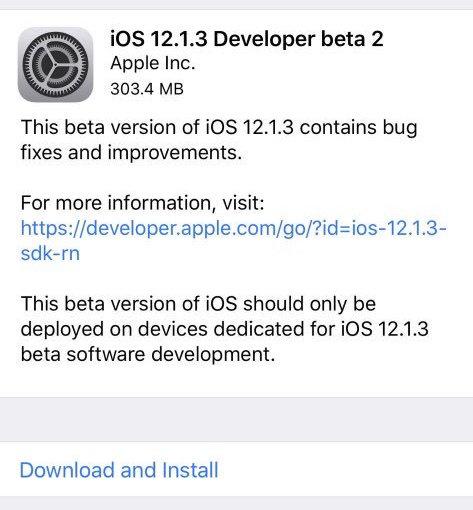 iOS 12.1.3 beta