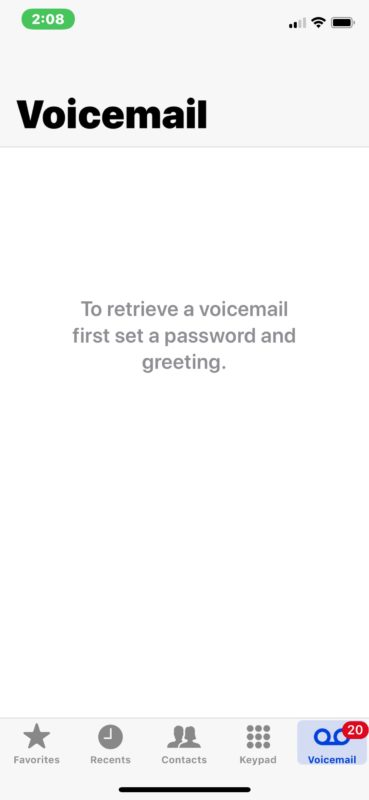 Voicemail error saying set password and greeting on iPhone