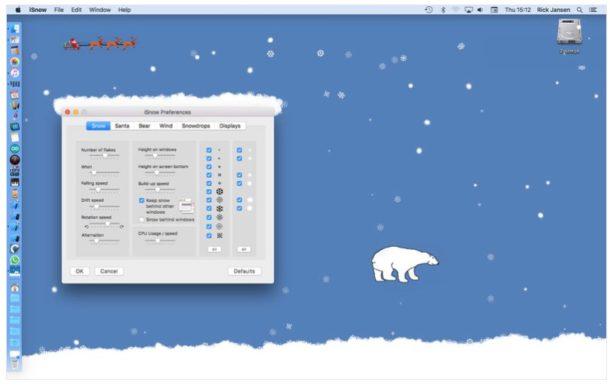 iSnow classic makes snow on the Mac desktop