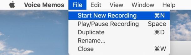 keyboard shortcuts for Voice Memos on a Mac