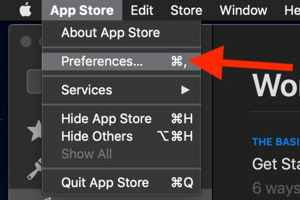 Access the Mac App Store Preferences