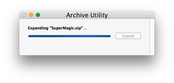 Opening and extracting a xip file on Mac