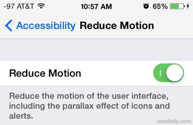 Reduce Motion enables a fade transition effect