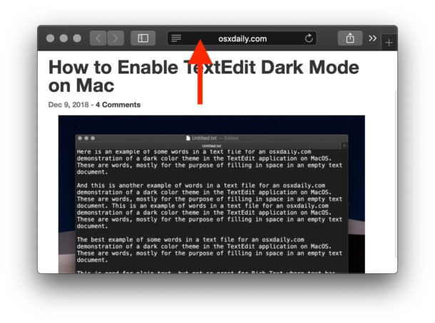 The darker dark gray shows Private Browsing is enabled on Mac Safari