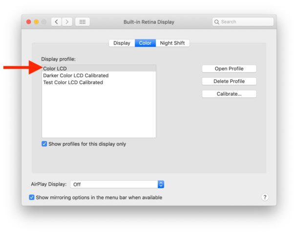 Set the default Color LCD display profile