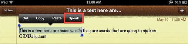 Speak selected text in iOS with the text-to-speech engine