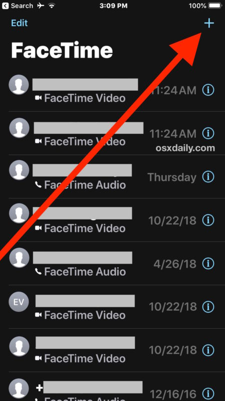 How to start a group FaceTime video chat in iOS