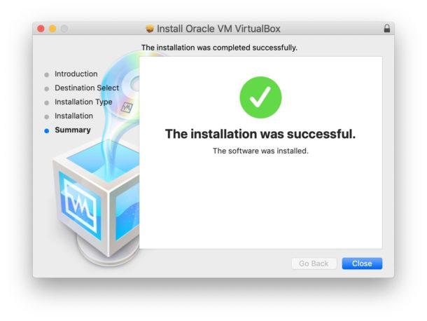 Virtualbox successful install