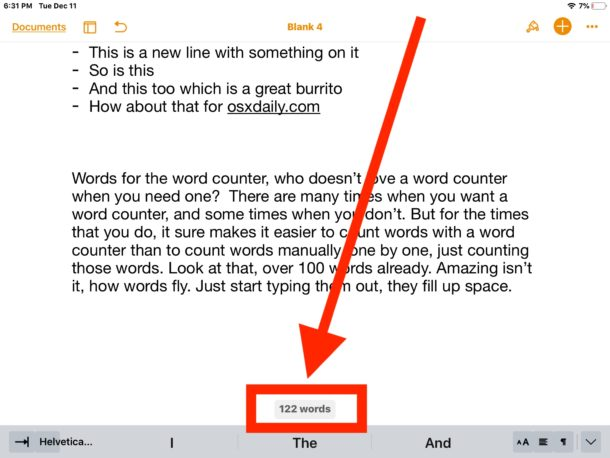 The word counter in Pages for iPad