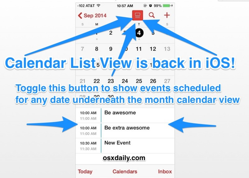 Access the Calendar List View for Specific Dates on iPhone with iOS