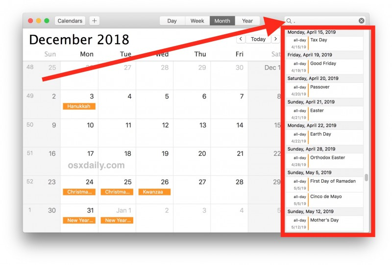 How to Show a List of All Calendar Events on Mac