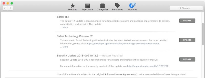 MacOS High Sierra 10.13.4 Update Released, Security Update 2018-002 for MacOS Sierra & El Capitan