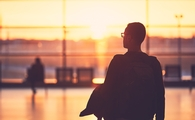 Airport terminal at sunrise