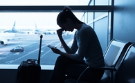 woman, airport, sad woman, stress, cellphone